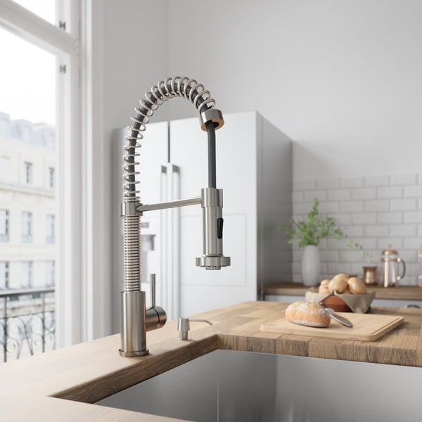 VIGO Edison Pull-Down Spray Kitchen Faucet With Soap Dispenser In Stainless Steel - Silver