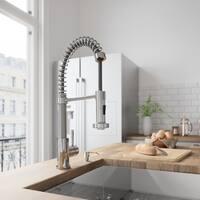 VIGO Edison Chrome Pull-Down Spray Kitchen Faucet with Soap Dispenser
