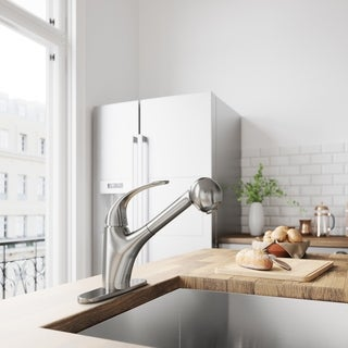 VIGO Alexander Stainless Steel Pull-Out Spray Kitchen Faucet with Deck Plate
