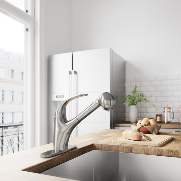 VIGO Alexander Stainless Steel Kitchen Faucet with Deck Plate