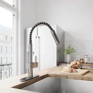 VIGO Lincroft Stainless Steel Pull-Down Kitchen Faucet with Deck Plate