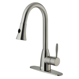 VIGO Stainless-Steel Pull-Out Spray Kitchen Faucet with Deck Plate (Single-Hole Installation)
