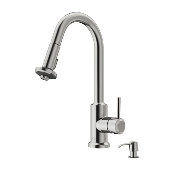 VIGO Astor Stainless Steel Pull-Down Spray Kitchen Faucet with Deck Plate