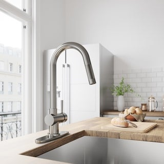 VIGO Gramercy Stainless Steel Pull-Down Kitchen Faucet with Deck Plate