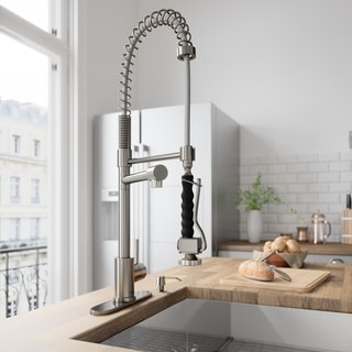 VIGO Stainless Steel Pull-Down Spray Single Handle Kitchen Faucet with Deck Plate