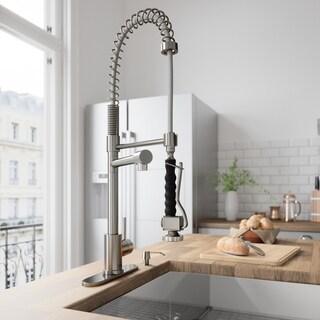 VIGO Zurich Stainless Steel Pull-Down Spray Kitchen Faucet with Deck Plate