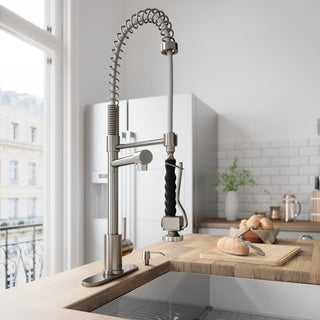 VIGO Zurich Stainless Steel Pull-Down Kitchen Faucet with Deck Plate