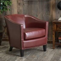 Austin Oxblood Red Bonded Leather Club Chair by Christopher Knight Home
