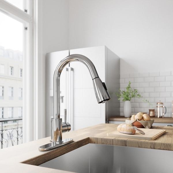 VIGO Weston Chrome Pull-Down Spray Kitchen Faucet with Deck Plate