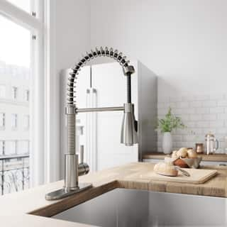 VIGO Brant Stainless Steel Pull-Down Spray Kitchen Faucet with Deck Plate|https://ak1.ostkcdn.com/images/products/6006659/P13692325.jpg?impolicy=medium