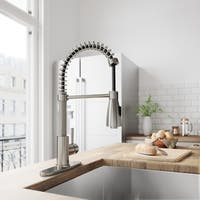 VIGO Brant Stainless Steel and Black Kitchen Faucet with Deck Plate