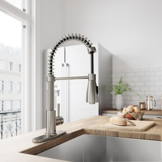 VIGO Brant Stainless Steel Pull Down Spray Kitchen Faucet With Deck Plate