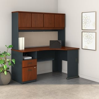 BBF Series A 71 x 36 Single Pedestal Corner Desk with 60-inch Hutch