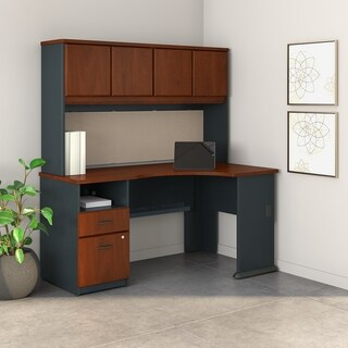 Series A Corner Desk, Hutch, 2 Drawer Pedestal