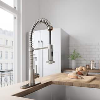 VIGO Edison Stainless Steel Pull-Down Spray Kitchen Faucet with Deck Plate|https://ak1.ostkcdn.com/images/products/6006681/P13692326.jpg?impolicy=medium