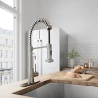 VIGO Edison Stainless Steel Pull-Down Kitchen Faucet with Deck Plate