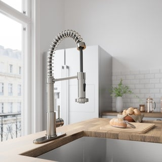 VIGO Edison Stainless Steel Pull-Down Spray Kitchen Faucet with Deck Plate