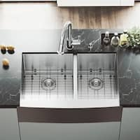 VIGO 33-inch Bingham Double Bowl Farmhouse Sink, Grids & Strainers