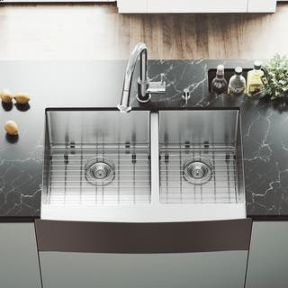 Vigo 33 Inch Farmhouse Stainless Steel Kitchen Sink With Rounded Edge Two Grids And