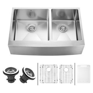VIGO 33-inch Farmhouse Stainless Steel Kitchen Sink with Rounded Edge, Two Grids and Two Strainers