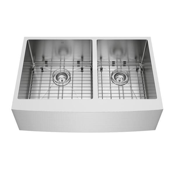 Shop VIGO Bingham 33-inch Double Bowl Kitchen Sink, Grids ...