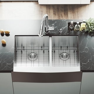 VIGO Bingham 33-inch Double Bowl Kitchen Sink, Grids and Strainers