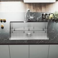 VIGO Mercer Stainless Steel 32-inch Kitchen Sink, Grid and Strainer