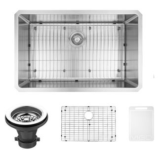 VIGO 32-inch Undermount Stainless Steel Kitchen Sink with Rounded Edge, Grid and Strainer