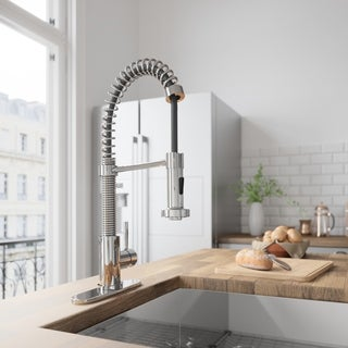 VIGO Edison Chrome Pull-Down Spray Kitchen Faucet with Deck Plate