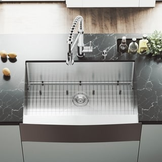 VIGO 33-inch Farmhouse Stainless Steel Kitchen Sink with Rounded Edge, Grid and Strainer