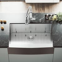 "VIGO 33"" Bedford Stainless Steel Farmhouse Kitchen Sink, With Grid And Strainer - Silver"