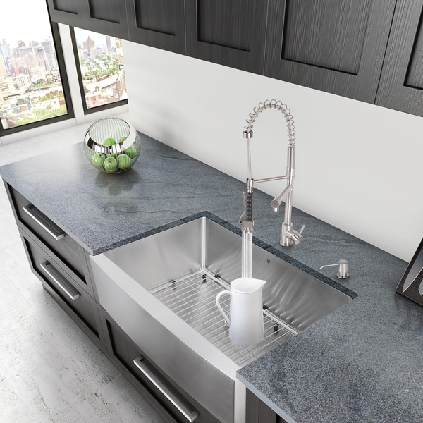 VIGO 33 Inch Farmhouse Stainless Steel Kitchen Sink With Rounded Edge, Grid  And Strainer   Free Shipping Today   Overstock.com   13692348
