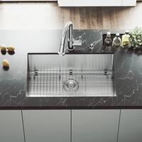 VIGO Mercer Stainless Steel 30-inch Kitchen Sink, Grid and Strainer
