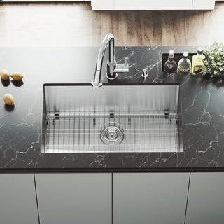 VIGO 30 Inch Undermount Stainless Steel Kitchen Sink With Rounded Edge,  Grid And Strainer