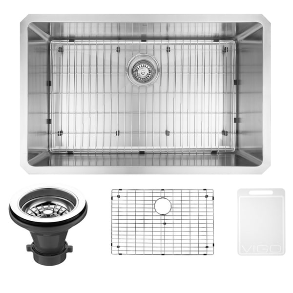 VIGO 30-Inch Undermount 16-Gauge Brushed Stainless Steel Kitchen Sink, Grid, and Strainer