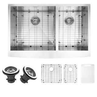 VIGO 36-inch Farmhouse Stainless Steel Kitchen Sink, Two Grids and Two Strainers