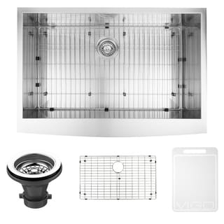 VIGO 36-inch Farmhouse Stainless Steel Kitchen Sink, Grid and Strainer