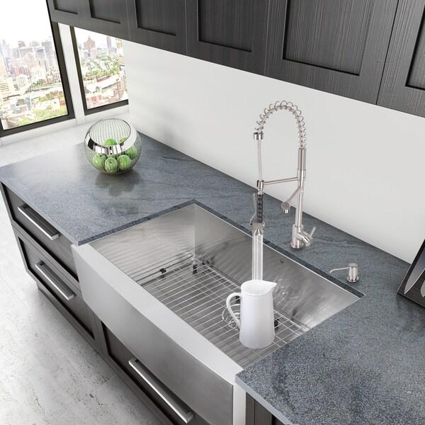 VIGO 36-inch Farmhouse Stainless Steel Kitchen Sink, Grid and ...