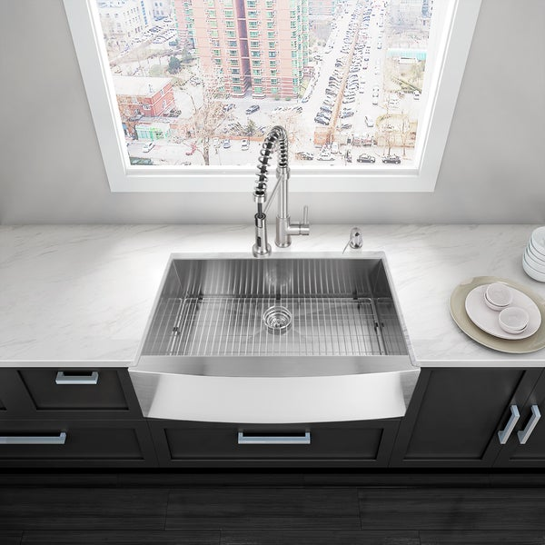 VIGO 36 Inch Farmhouse Stainless Steel Kitchen Sink, Grid And Strainer    Free Shipping Today   Overstock.com   13692350