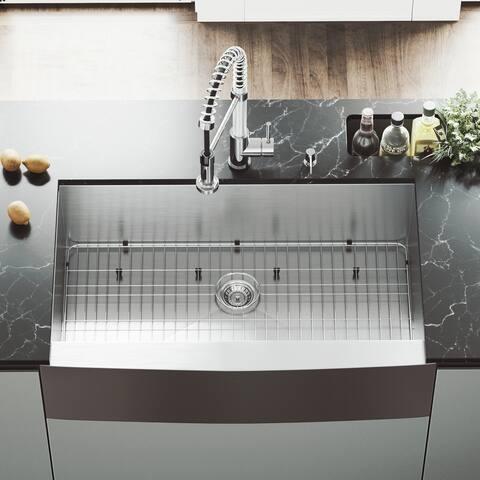 VIGO Camden Stainless Steel 36-inch Kitchen Sink, Grid and Strainer