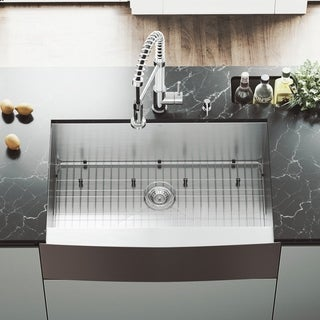 "VIGO 33"" Camden Stainless Steel Farmhouse Kitchen Sink, With Grid And Strainer"