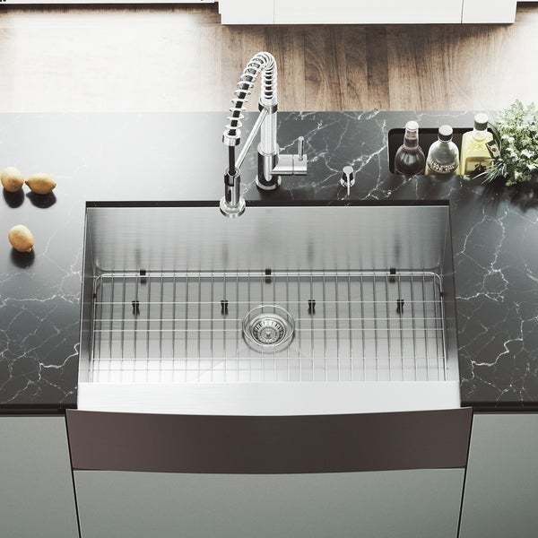 shop vigo 33 inch farmhouse stainless steel kitchen sink grid and rh overstock com