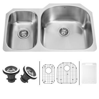 VIGO 31-inch Undermount Stainless Steel Kitchen Sink, Two Grids and Two Strainers