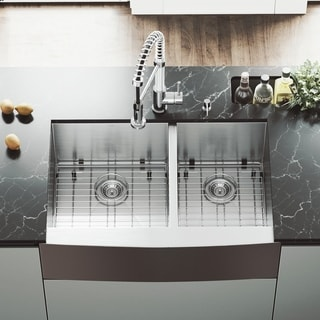 VIGO 33-inch Farmhouse Stainless Steel Kitchen Sink, Two Grids and Two Strainers
