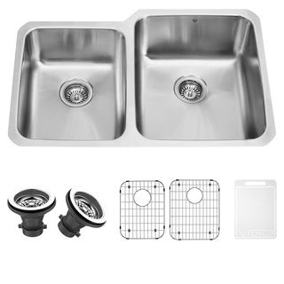VIGO 32-Inch Under-Mount Premium Stainless Steel Kitchen Sink with Two Grids and Two Strainers