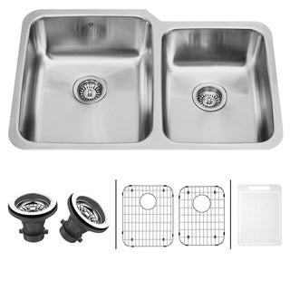 VIGO 32-inch Undermount Stainless Steel Kitchen Sink, Two Grids and Two Strainers