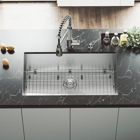 VIGO Ludlow Stainless Steel 32-inch Kitchen Sink, Grid and Strainer