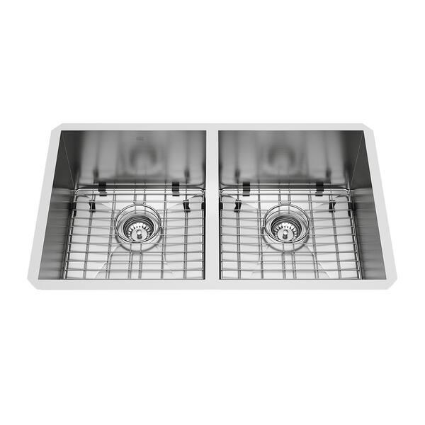 Shop VIGO Suffolk 32-inch Double Bowl Kitchen Sink, Grids ...