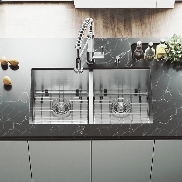 VIGO Suffolk 32-inch Double Bowl Kitchen Sink, Grids and Strainers