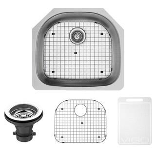 VIGO 24-inch Undermount Stainless Steel Kitchen Sink, Grid and Strainer